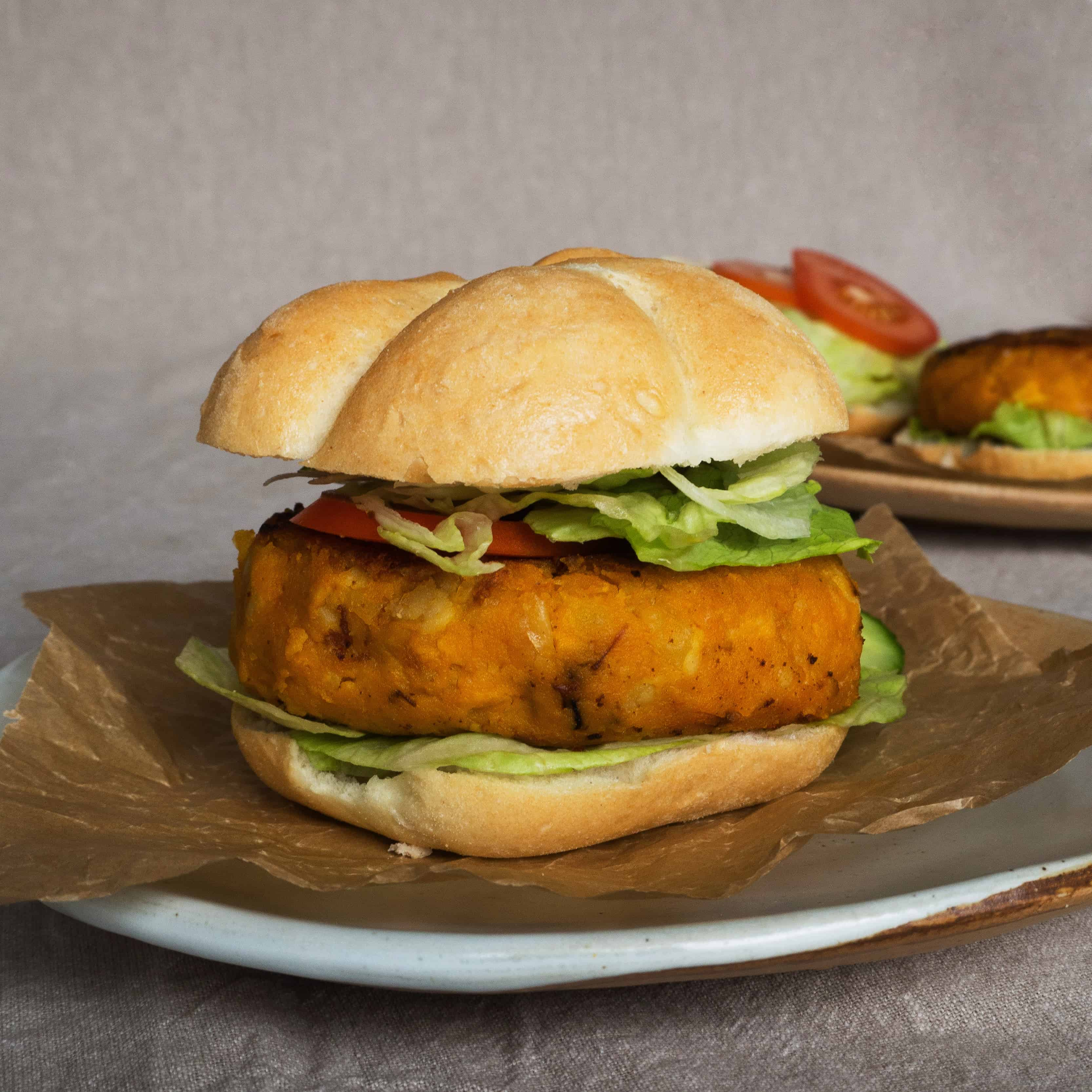 Gluten-Free, Vegan Chickpea and Pumpkin Burger. Ready to eat.
