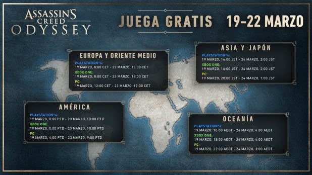 Assassin's Creed Odyssey gratis del 19 al 22 de marzo, en Xbox One, PlayStation4, y PC