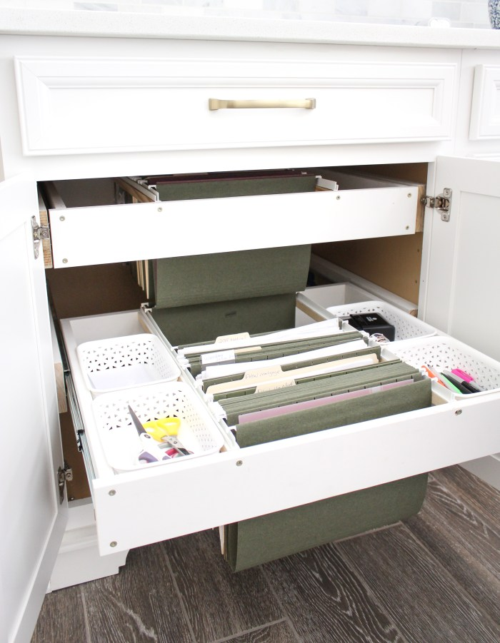 DIY Hanging File Drawer in Kitchen Cabinet - Frills and Drills