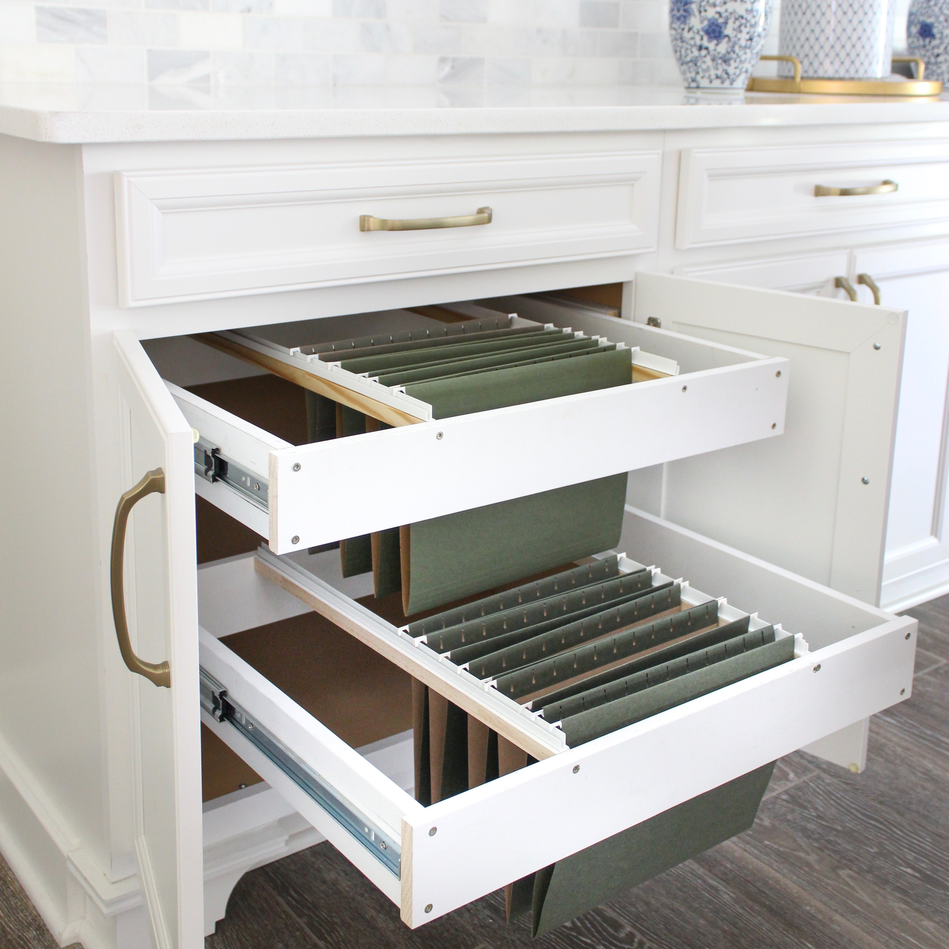 Diy Hanging File Drawer In Kitchen Cabinet Frills And Drills