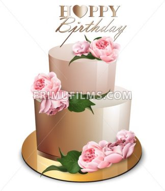 Happy Birthday Cake Vector Realistic Anniversary Wedding Ceremony Modern Desserts Golden Cake With Peony Flowers Bouquet Frimufilms