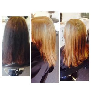 From black to medium warm blond. Hair colour by Daiva