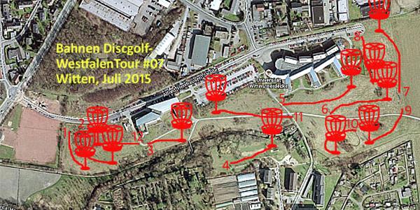 Die zwölf Bahnen des ersten Discgolf-Turniers in Witten (11. Juli 2015).