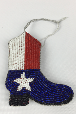 Beaded Texas Boot Ornament