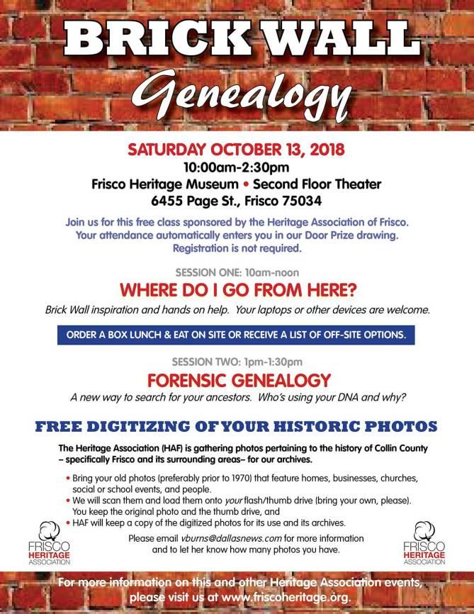 Brick Wall Genealogy Event Flyer 2018
