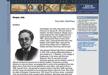 julia morgan entry at the encyclopedia of san francisco