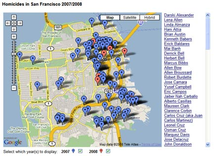 distribution of san francisco homicdes