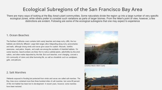 Clickable screenshot, Biomes of the San Francisco Bay Area