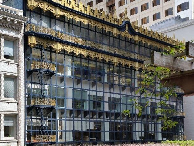 The Hallidie Building seen from Crocker Galleria Garden Terrace.