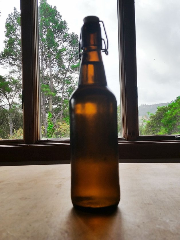 Ginger beer in flip-top bottle.