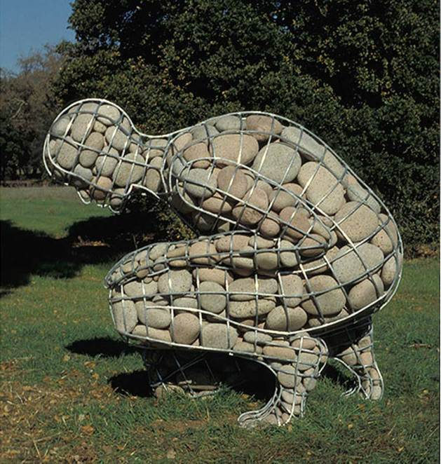 "<em>Rising Cairn</em>, by <a href=""http://www.celesteroberge.com/w-cairn-rising.php"">Celeste Roberge</a>. Welded galvanized steel and granite, 58"" x 54"" x 43"". Collection: Runnymede Sculpture Farm, Woodside, California."