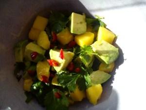 Recept vegetarisk god glutenfri mango och avokadosallad