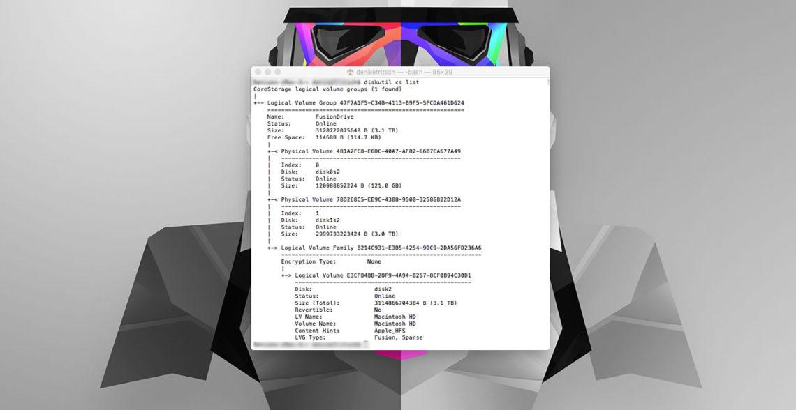 Terminal Befehl: diskutil cs list