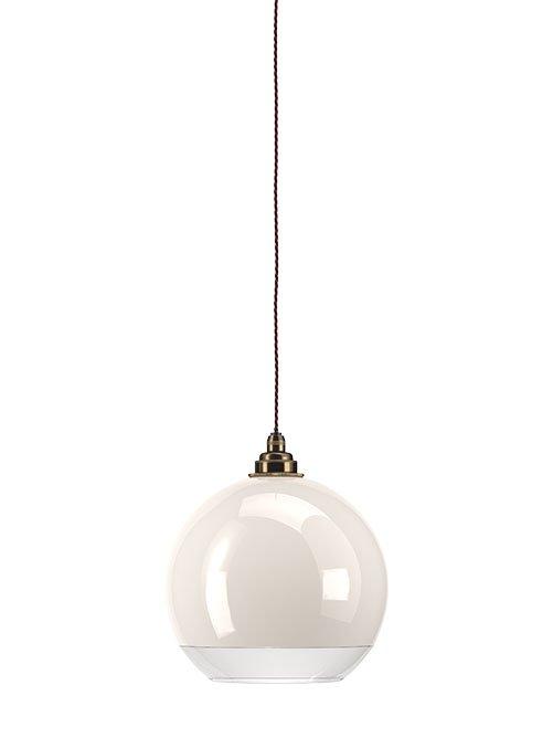 White Glass Clear Rim Globe Bathroom Pendant Ceiling Light Ip44 Hereford Industrial Modern Designer Contemporary Retro Style