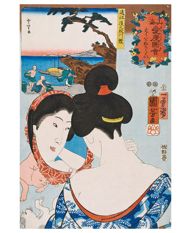 """Utagawa Kuniyoshi (1797-1861), """"Wanting to tweeze the nape of the neck / Air bladders of fish from the Sunomata River in Tōtōmi province"""", 1852, color woodblock print"""