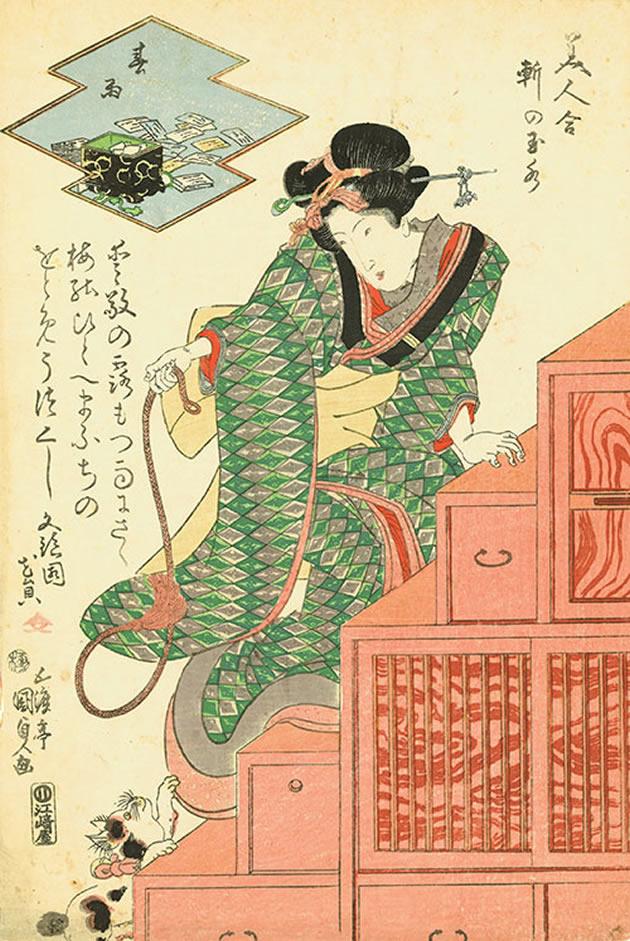 "Utagawa Kunisada (1786-1864), ""Under the eaves of Tamamizu: spring rain"", 1818-30, color woodblock print"