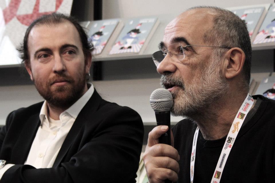 Fabio Toninelli e Guido Scarabottolo alla Fiera del Libro di Bologna, 2013 (foto: Tapirulan)