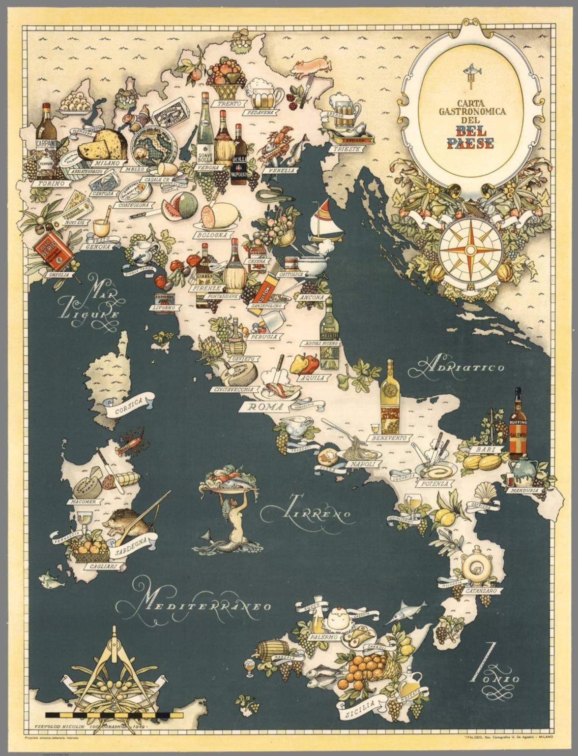 Carta Gastronomica del Bel Paese, 1949 autore: Vsevolod Niculin Cosmographus editore: ITALGEO., Soc. Cartografica G. De. Agostini (Italia)