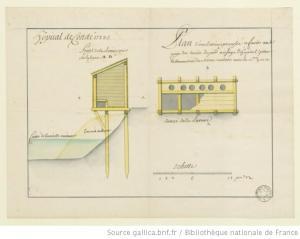 Hôpital de Condé : Plan d'une latrine proposée via Gallica | http://gallica.bnf.fr/ark:/12148/btv1b55001177f/f1.item