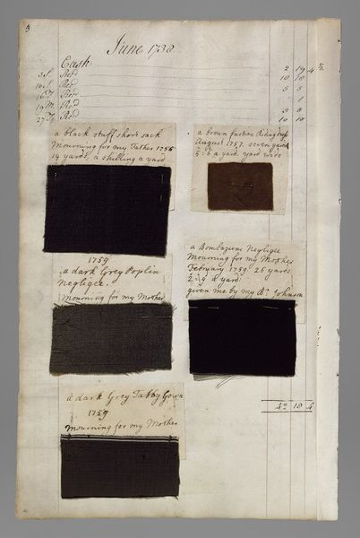 """Barbara Johnson's album, Victoria & Albert Museum. She noted that the top left swatch is from """"a black stuff short sack Mourning for my Father 1756 14 yards, a shilling a yard."""""""