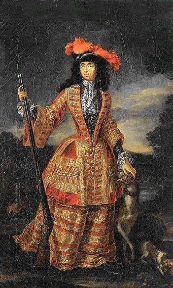 "Jan Frans van Doeven, ""Anna Maria Luisa de' Medici in hunting dress,"" c. 1695. Pitti Palace."