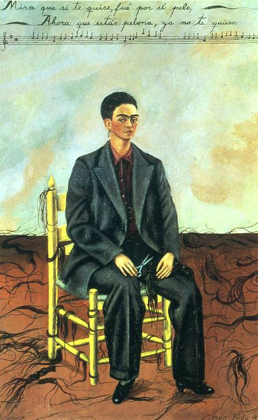 Self Portrait with Cropped Hair, 1940, by Frida Kahlo