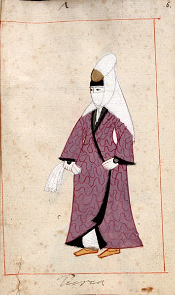 Turkish woman from the Ralamb Costume Book, purchased by a Swedish statesman, Claes Ralamb, in 1657, so possibly drawn earlier.