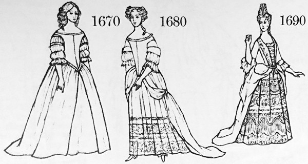 Janet Arnold, fashions of 1670, 1680, & 1690