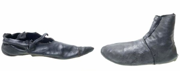 14th (left) and 15th (right) century shoes, Museum of London.
