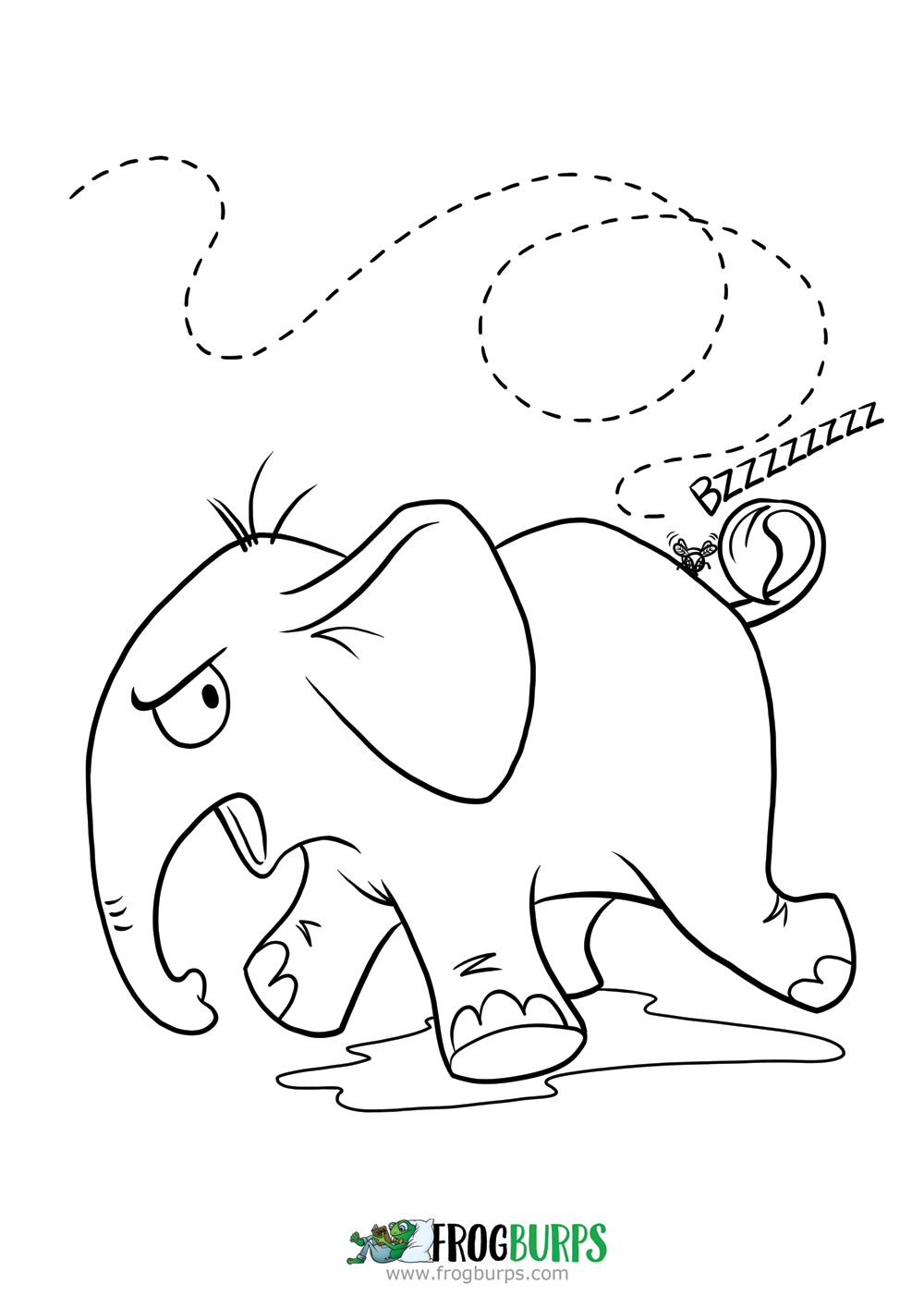 Angry Elephant | Coloring Page