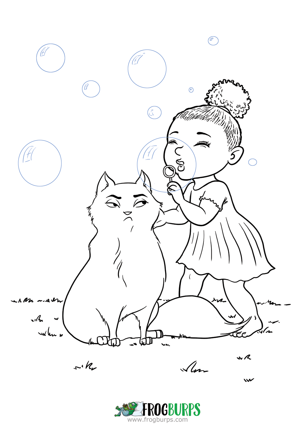 Bubbles the Cat | Coloring Page