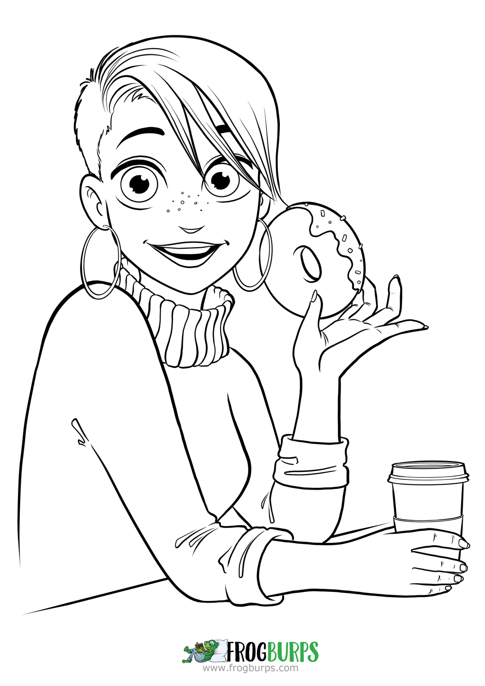 Donut Girl | Coloring Page
