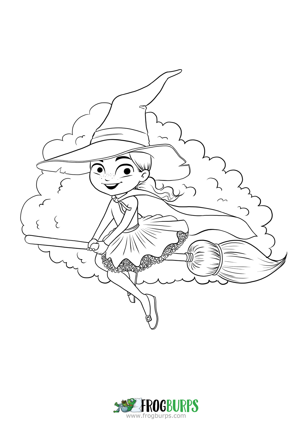 Flying Witch | Coloring Page