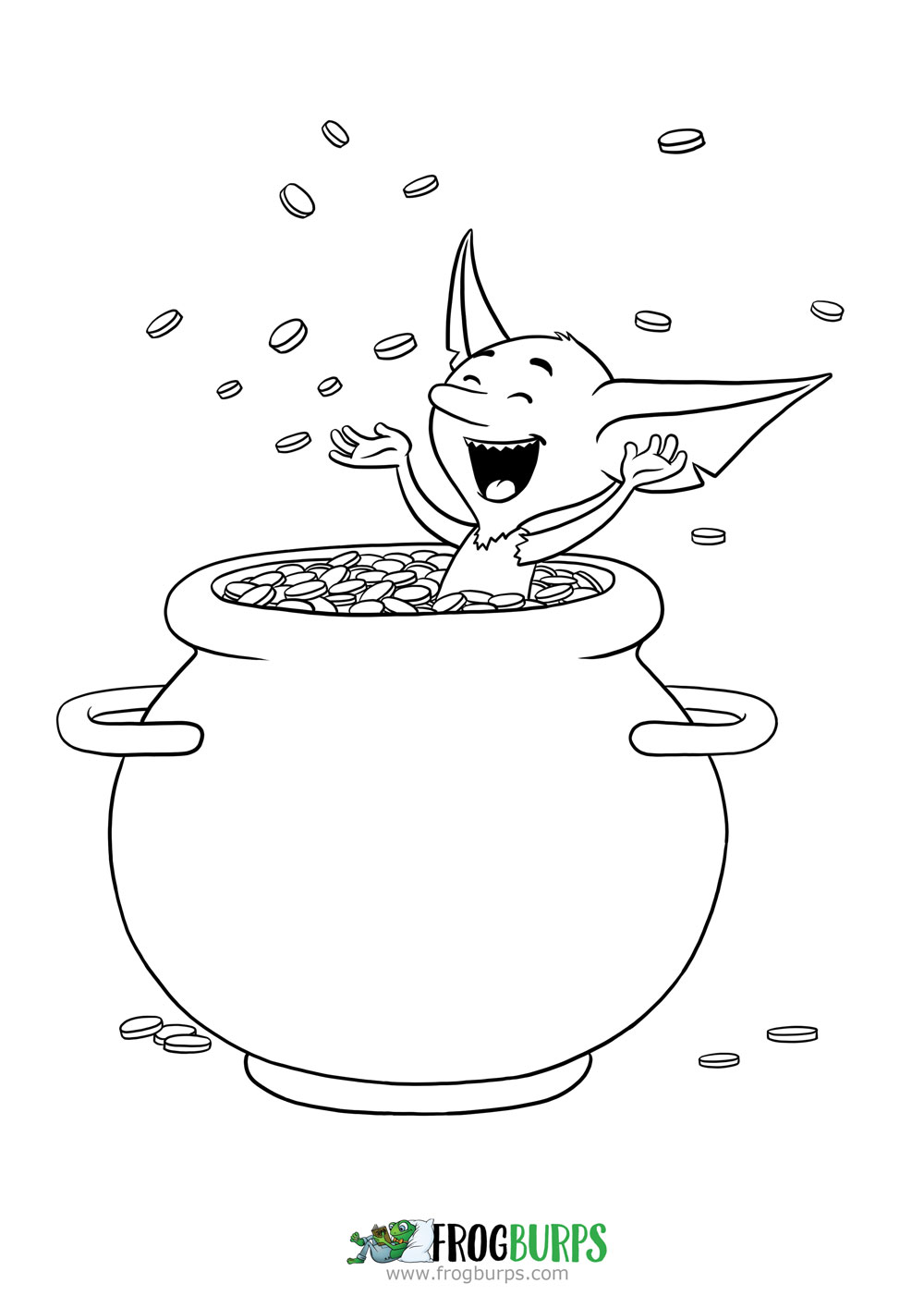Goblin and Pig - Pot of Gold | Coloring Page