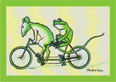 Frog & Mouse Tandem Birthday Card