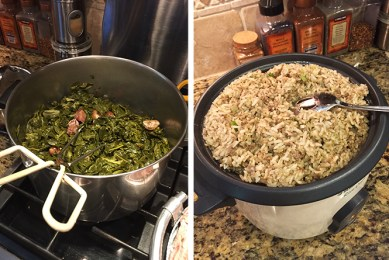 A silver pot full of greens next to a pot of dirty rice.