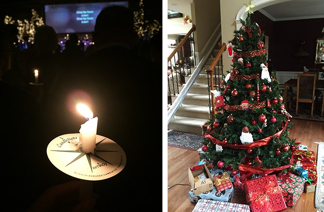 Candleligh vigil and Christmas tree with presents.