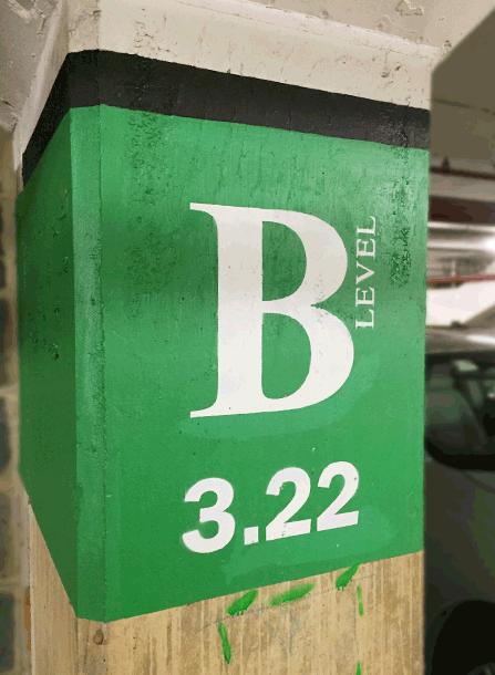 Parking garage marker.