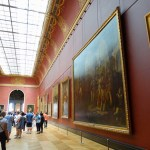Row of paintings at the Louvre.