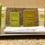 Close up of Crabtree and Evelyn toiletries.