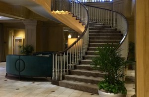 Staircase at the Royal Sonesta in Baltimore, MD.