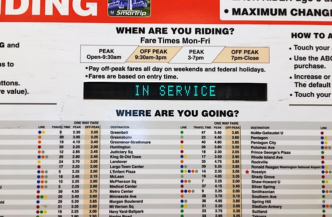 Close up photo of a metro fare chart. Headlines ask customers when and where are they going.