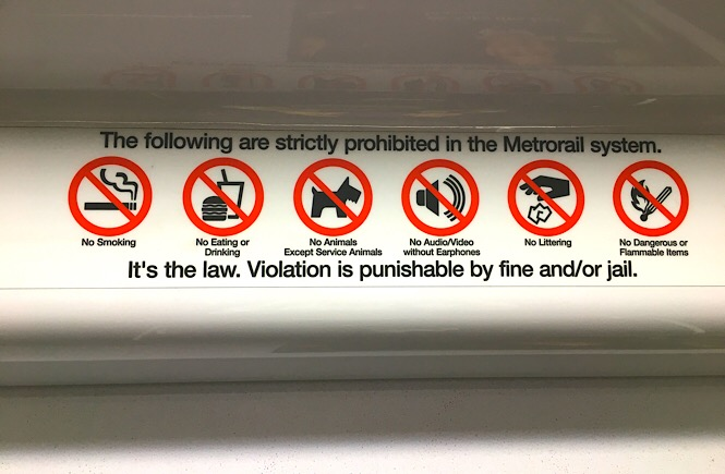 Photo of the metro rules.