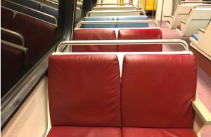 Photo of seats on the metro.