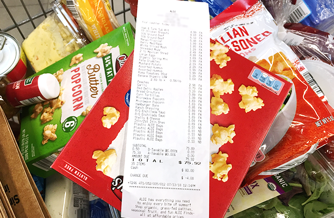 Photo of a receipt on top of a basket of grocery items. Frolic & Courage.