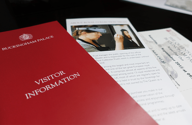 Photo of the Royal Day out mailing packet. This image shows the Royal Collection Trust Royal Day Out visitor information pamphlet, Royal Collection Trust insert, and tickets.