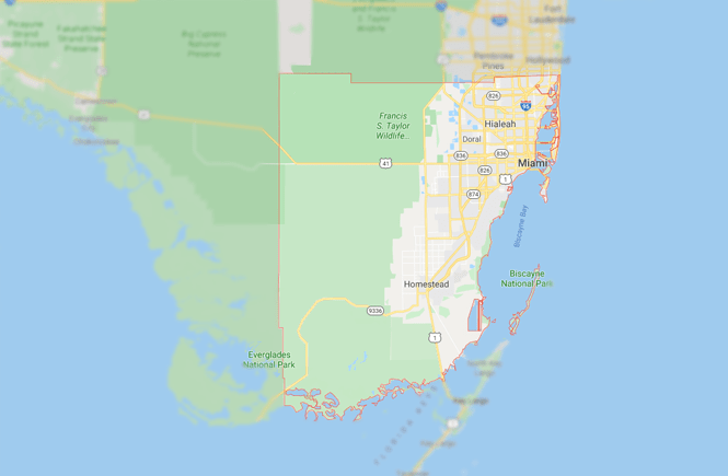 Map of Miami-Dade County.