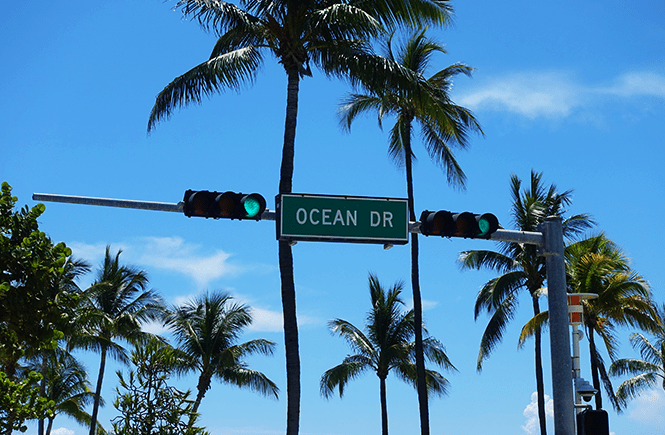Photo of the Ocean Drive sign in South Beach Miami, Fl.
