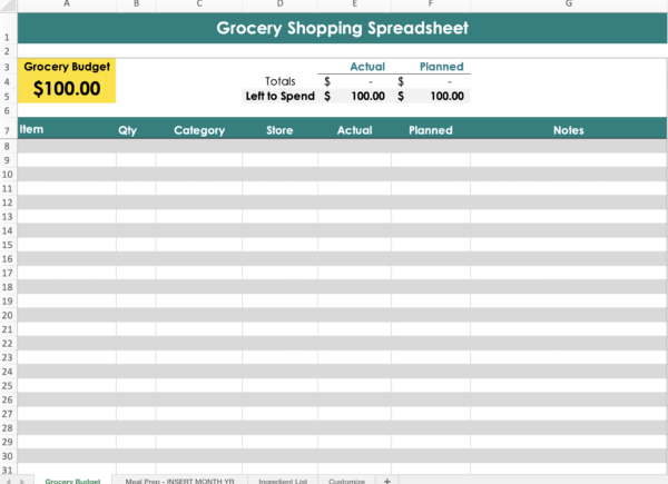 Screenshot of the grocery budget excel spreadsheet template by Frolic & Courage.