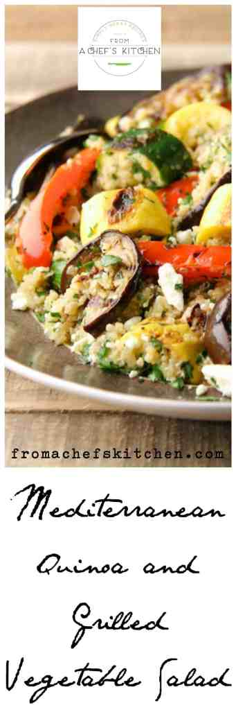 Mediterranean Quinoa and Grilled Vegetable Salad with a lively lemon dressing and feta cheese is perfect all summer long.  It's a great way to use leftover grilled vegetables.